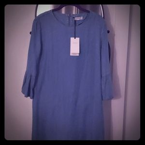 Demin shirt dress with flare sleeves